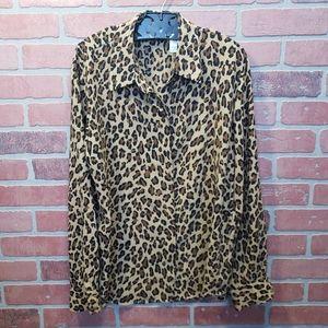 Liz Claiborne Leopard Print Blouse Size M